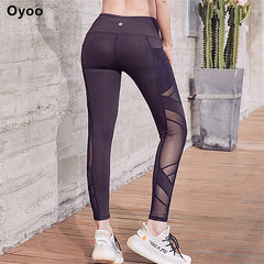 Dry Fit High Rise Mesh Yoga Pants With Pockets