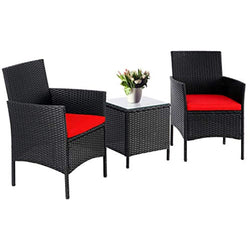 3 Pieces Outdoor Bistro Furniture Set With Coffee Table