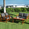 4 Pcs Wooden Patio Furniture Set