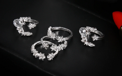 Stars and Moon Pave Crystal Rings (5pc)