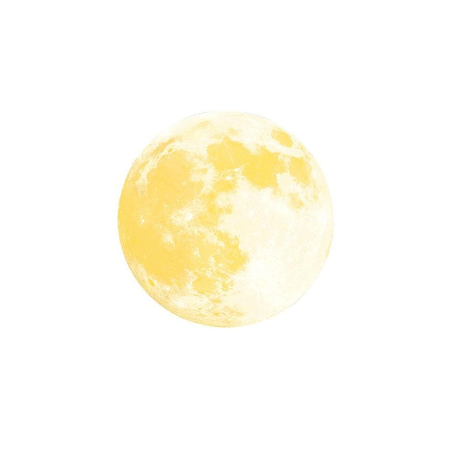 Glow In The Dark Lunar Full Moon Wall Stickers (12in)