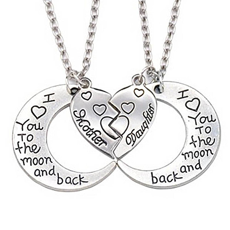 New Heart 2 Parts Pendant Necklace Heart Mother Daughter Necklace I Love You To The Moon And Back (2 Pcs 1 Set)