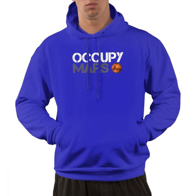 Occupy Mars Space Planet Hoodie Sweatshirt With Pocket Mens