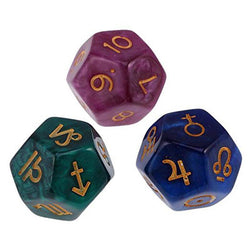 3Pcs 12-Sided Tarot Astrology Dice