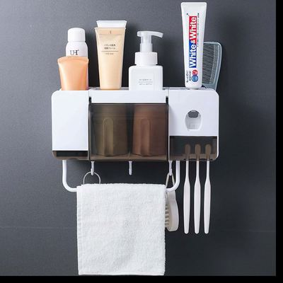 Wall Mounted Organizer with Toothpaste Dispenser