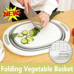 3-in-1 Collapsible Basket with Cutting Board and Drain