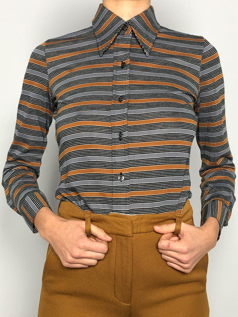 70s STRIPED JERSEY SHIRT