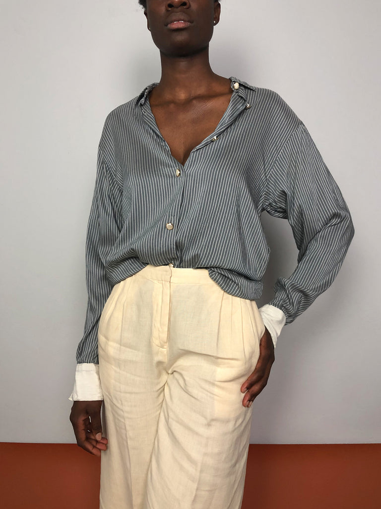 90s GREY STRIPED SILK SHIRT