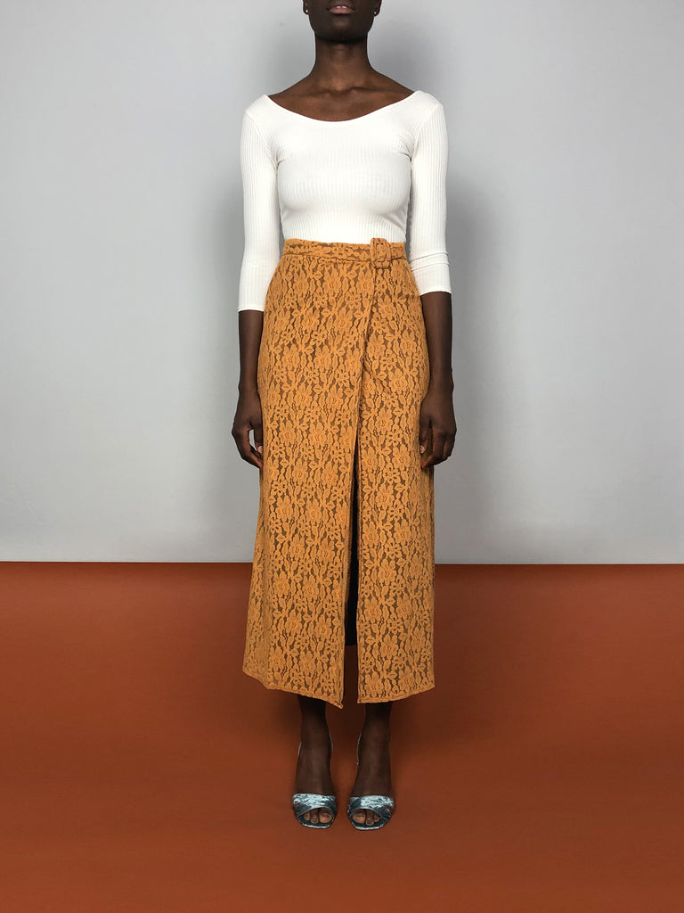 70s LACE APRICOT SKIRT