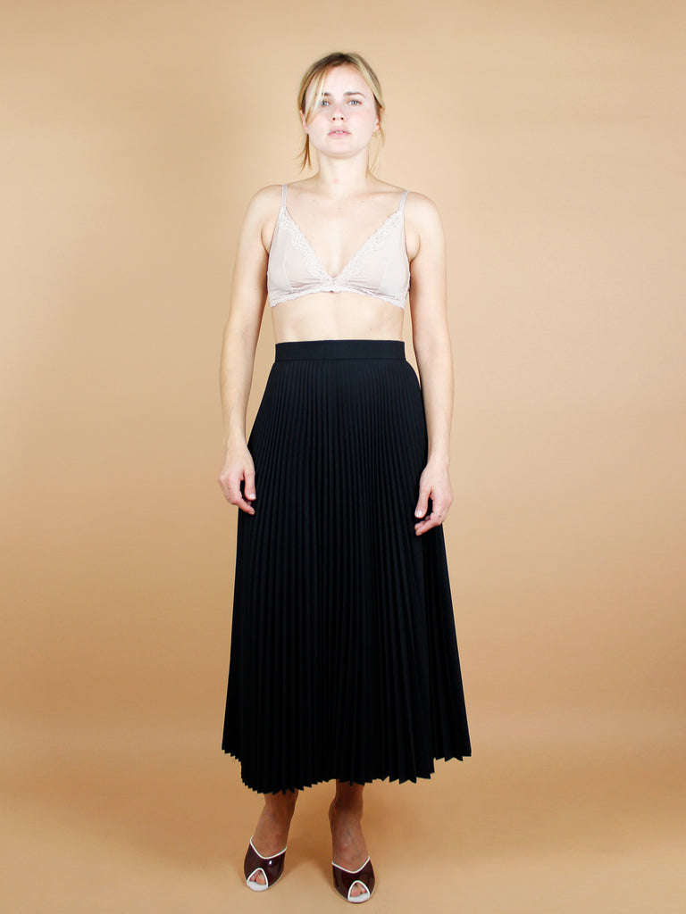 80s PLEATED BLACK SKIRT