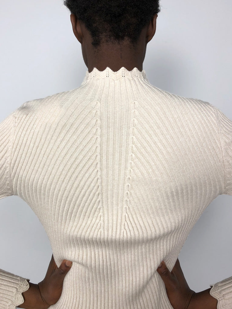 90s RIBBED CREAM SWEATER