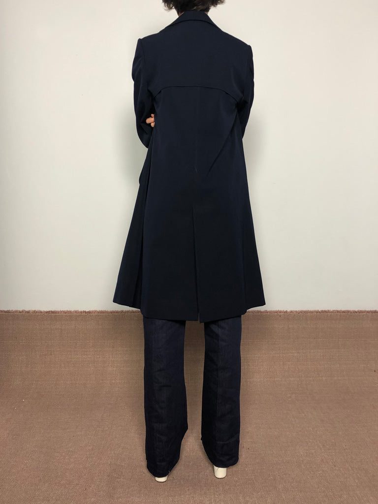 70s NAVY DOUBLE BREASTED TRENCH