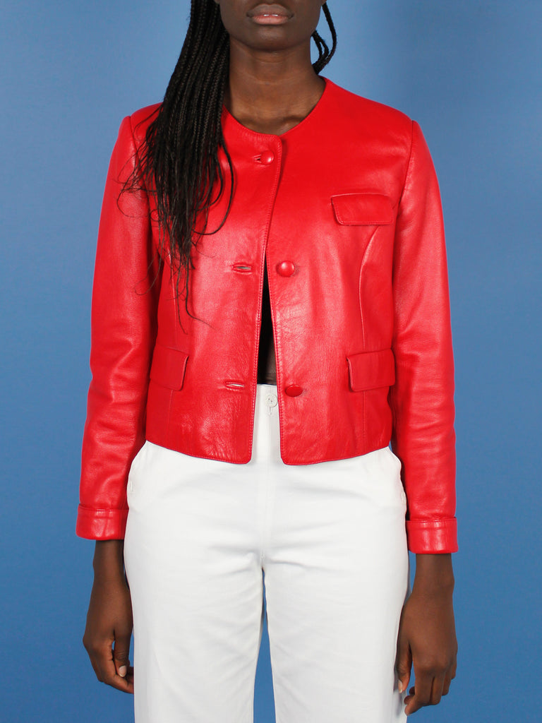 80s LIPSTICK RED LEATHER JACKET