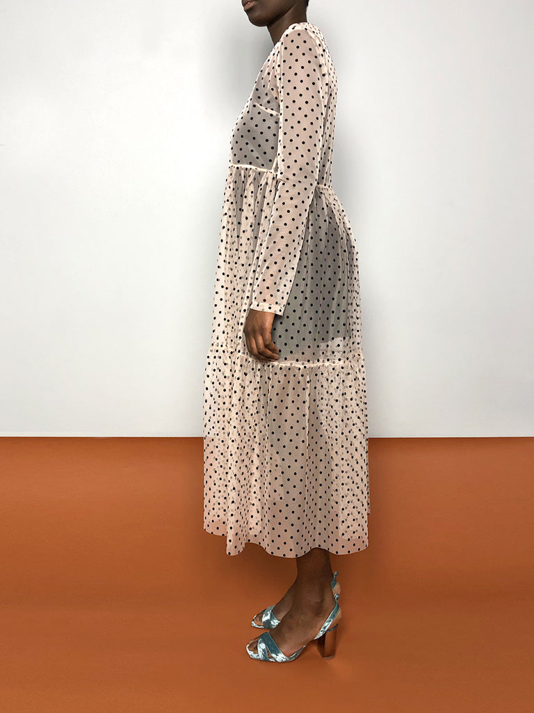 POLKA DOTS SHEER MAXI DRESS