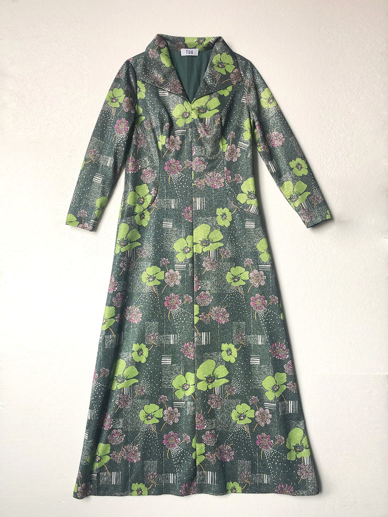 70s LUREX FLOWERED MAXI DRESS