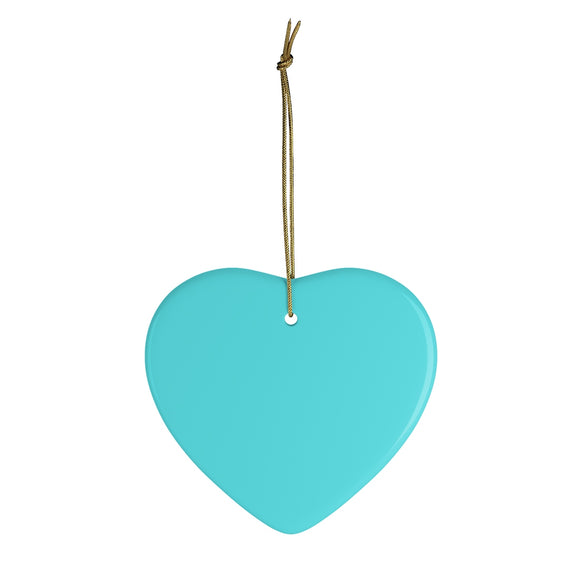 Teal Heart Ceramic Ornament