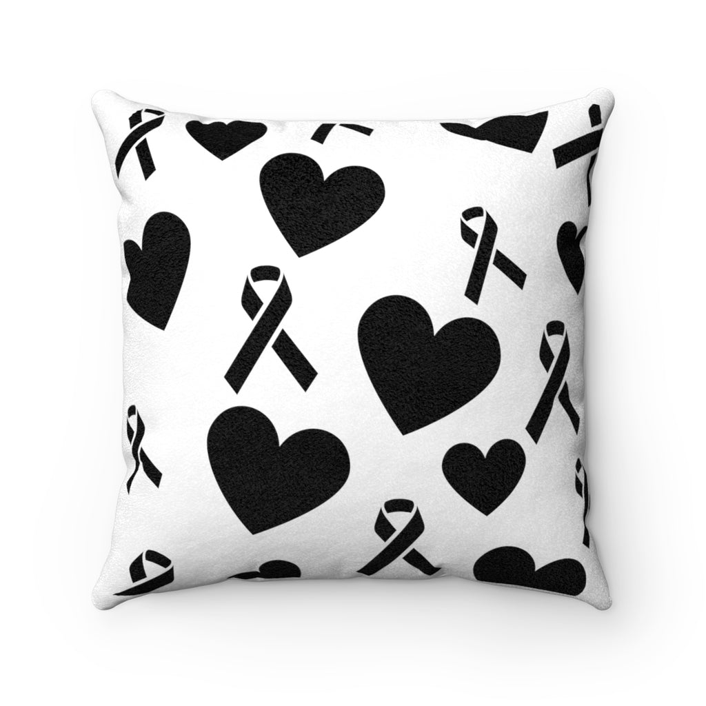 Hearts n Ribbons Faux Suede Square Pillow