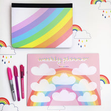 Load image into Gallery viewer, Pink Rainbow A4 Weekly Desk Planner