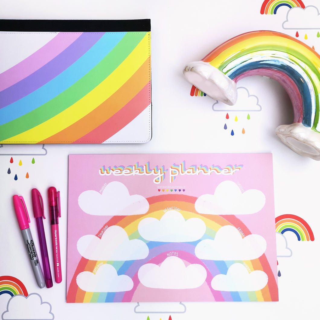 Pink Rainbow A4 Weekly Desk Planner