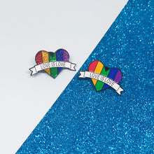 Load image into Gallery viewer, Love is Love Bright Rainbow LGBTQ+ Flag Enamel Pin
