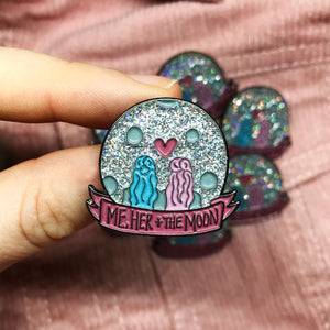 Me, Her + The Moon Enamel Pin