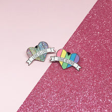 Load image into Gallery viewer, Love is Love Pastel Rainbow LGBTQ+ Flag Enamel Pin