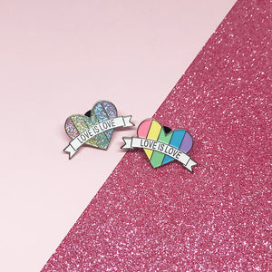 Love is Love Pastel Rainbow LGBTQ+ Flag Enamel Pin