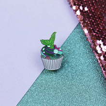 Load image into Gallery viewer, Mermaid Cupcake Enamel Pin