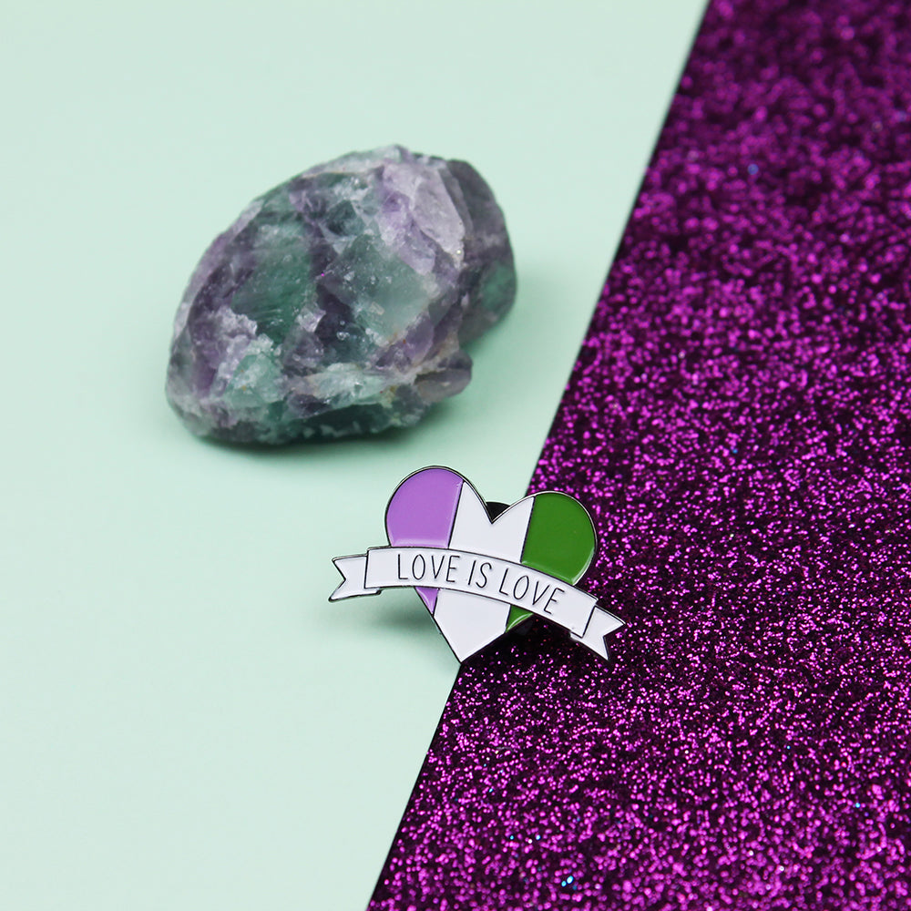 Love is Love Genderqueer Flag Enamel Pin