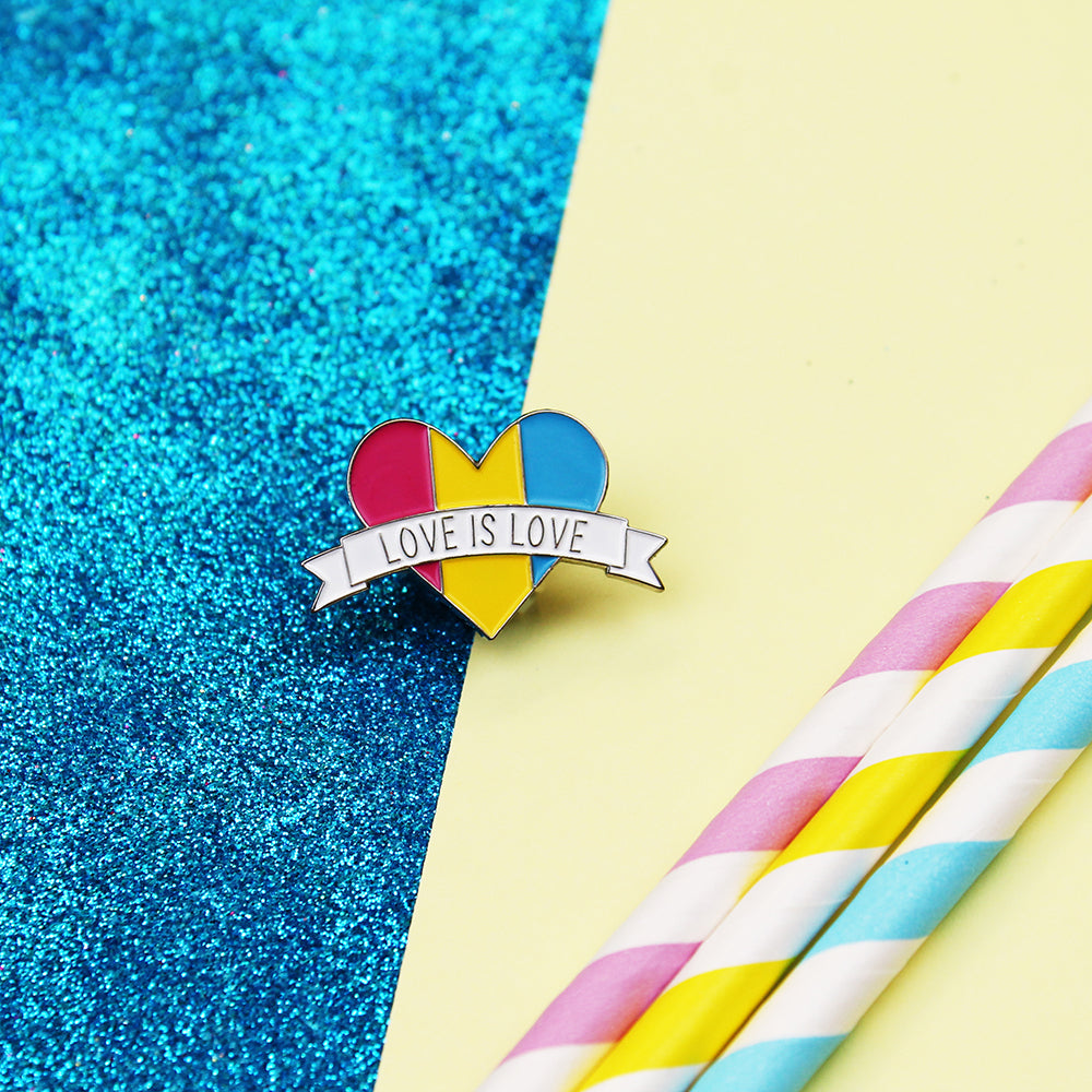Love is Love Pansexual Flag Enamel Pin