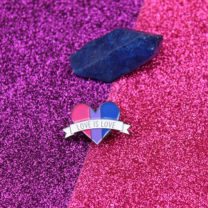 Love is Love Bisexual Flag Enamel Pin