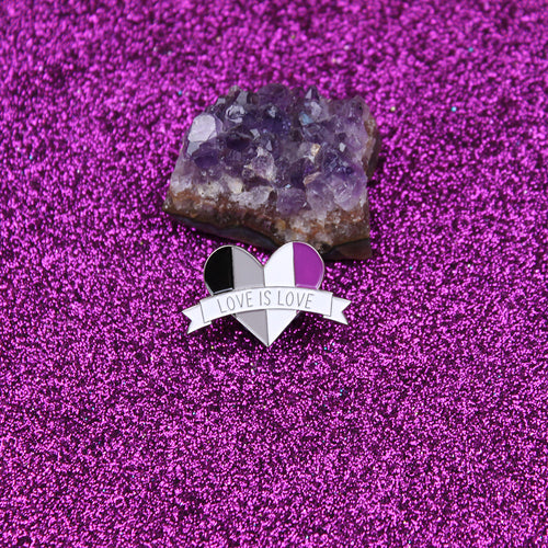 Love is Love Asexual Flag Enamel Pin