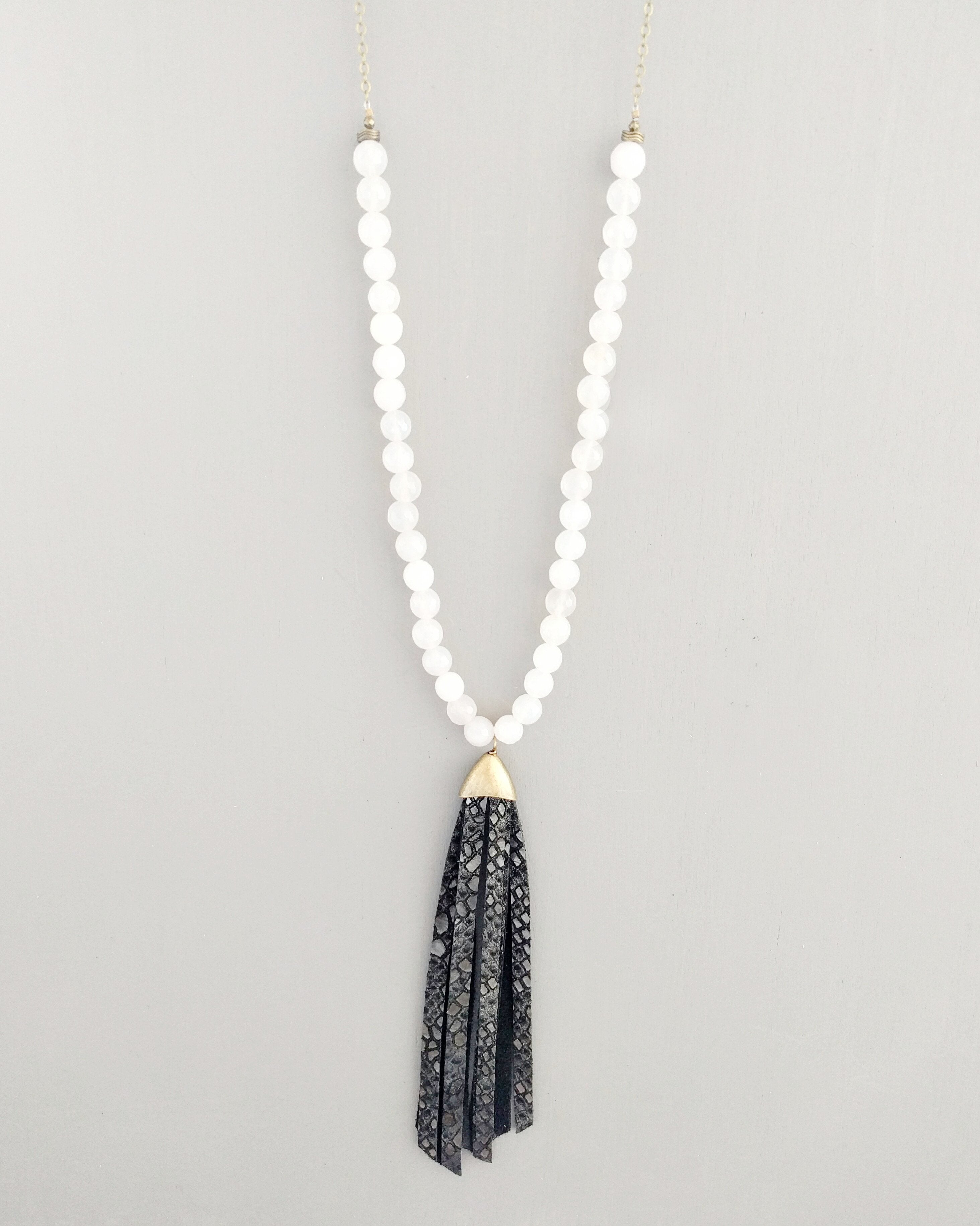Handmade Haitian White and Black Nellie Necklace