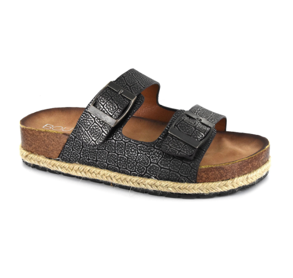 Double Strap Black Sandals with Buckles
