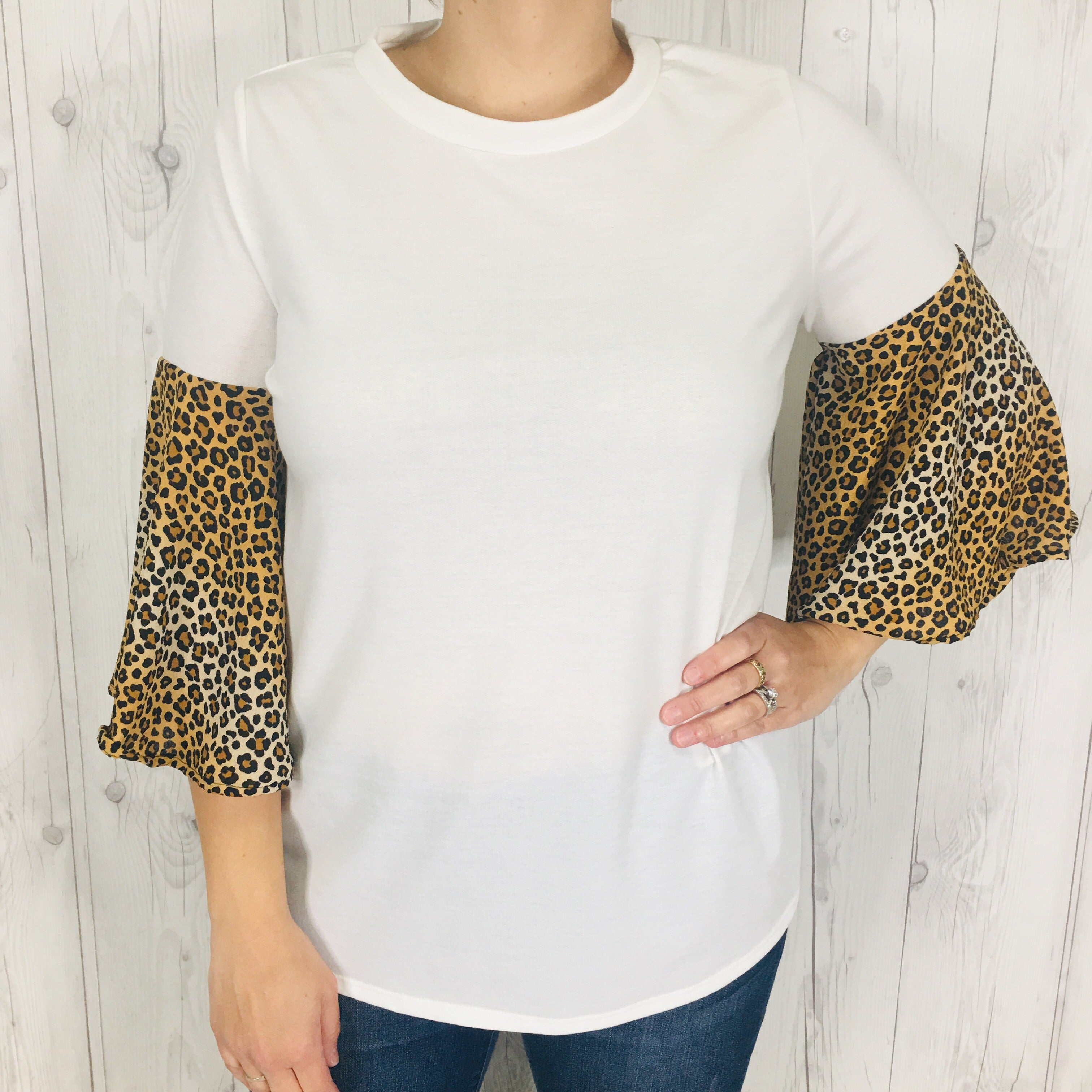 White Top with Brown Leopard Print Bell Sleeves