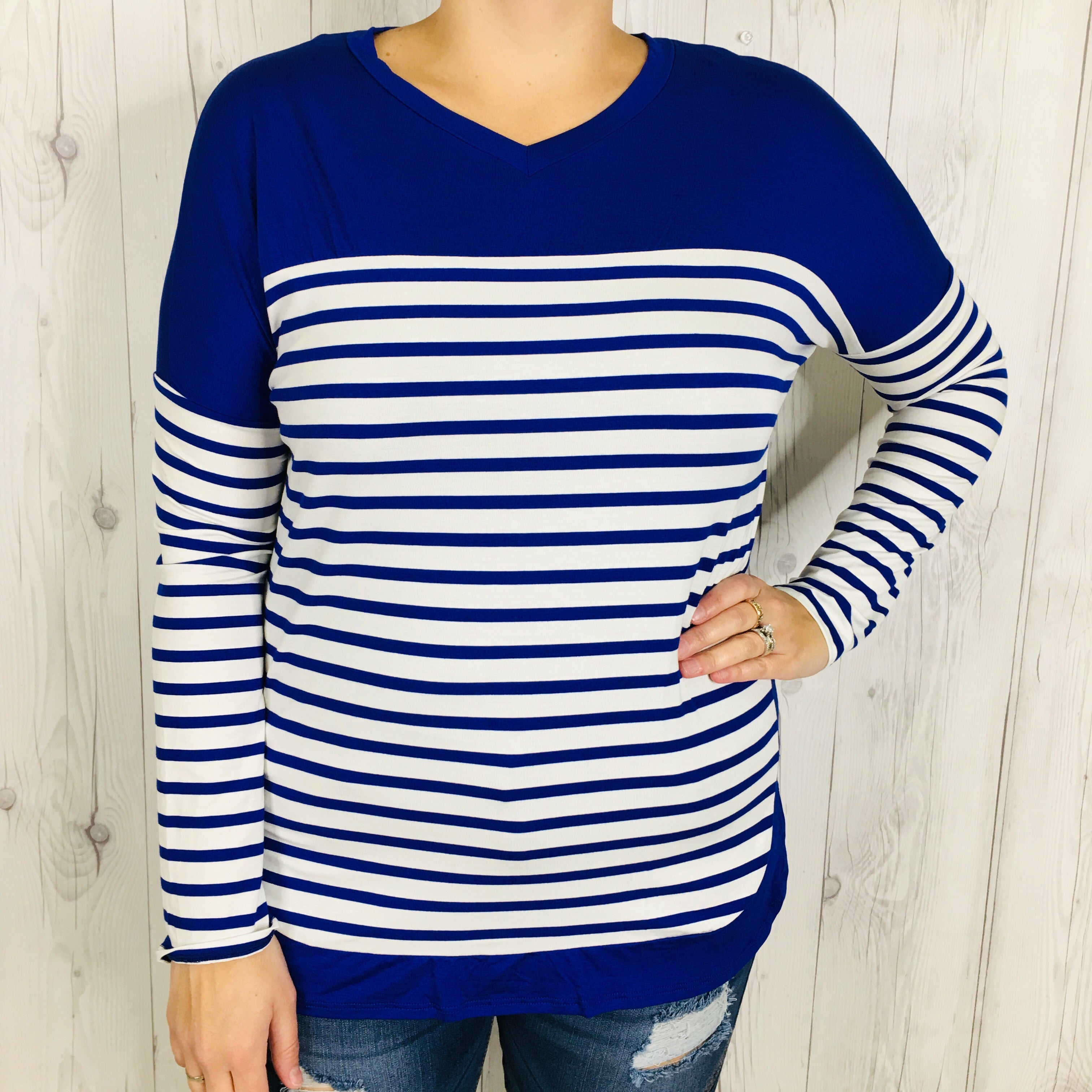 Long Sleeve White and Navy Striped Shirt