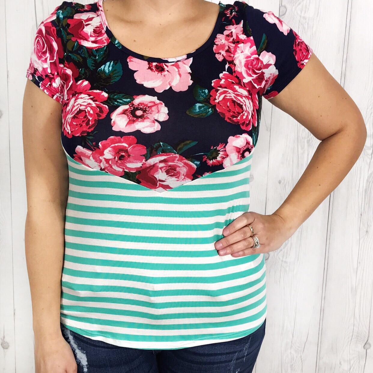 Striped Floral Classic T with Exposed Zipper