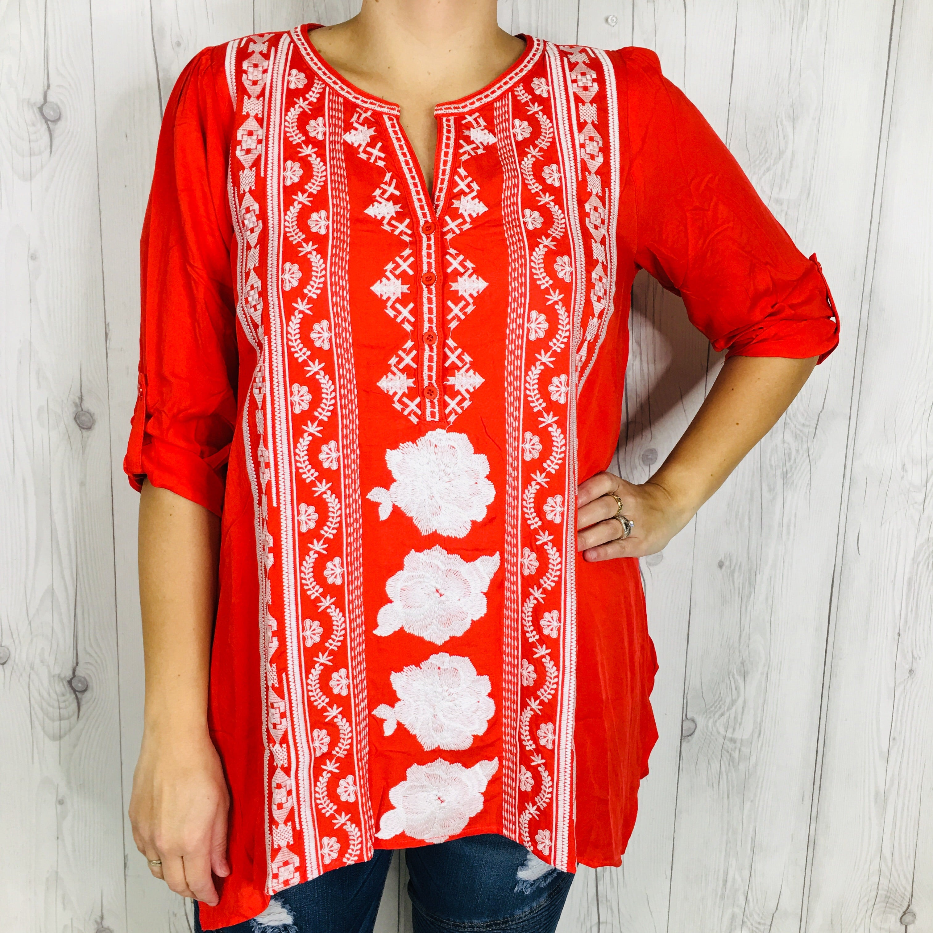 Red Button Front Tunic with Embroidered Detail