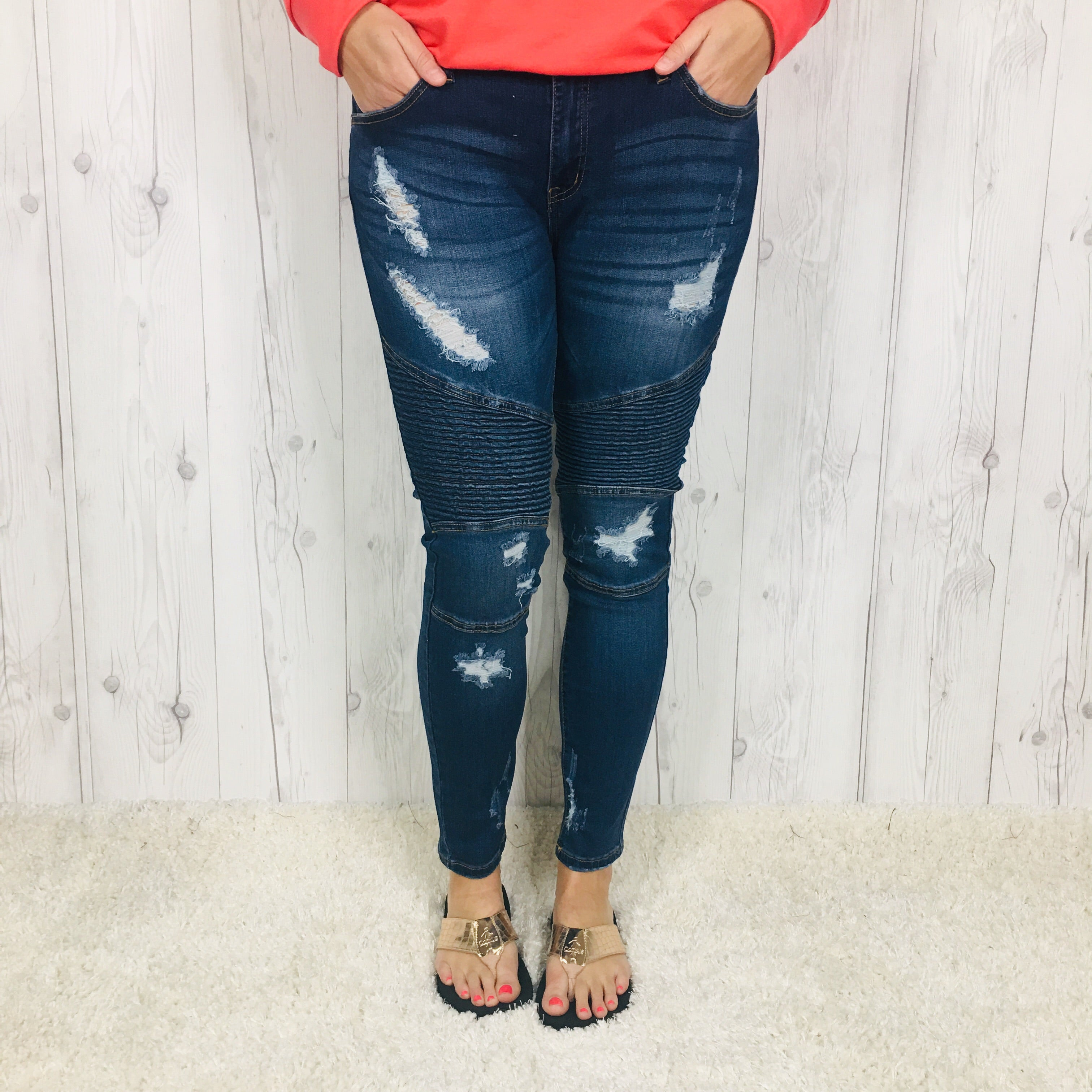 Judy Blue Mid Rise Destroyed Moto Skinny Jeans