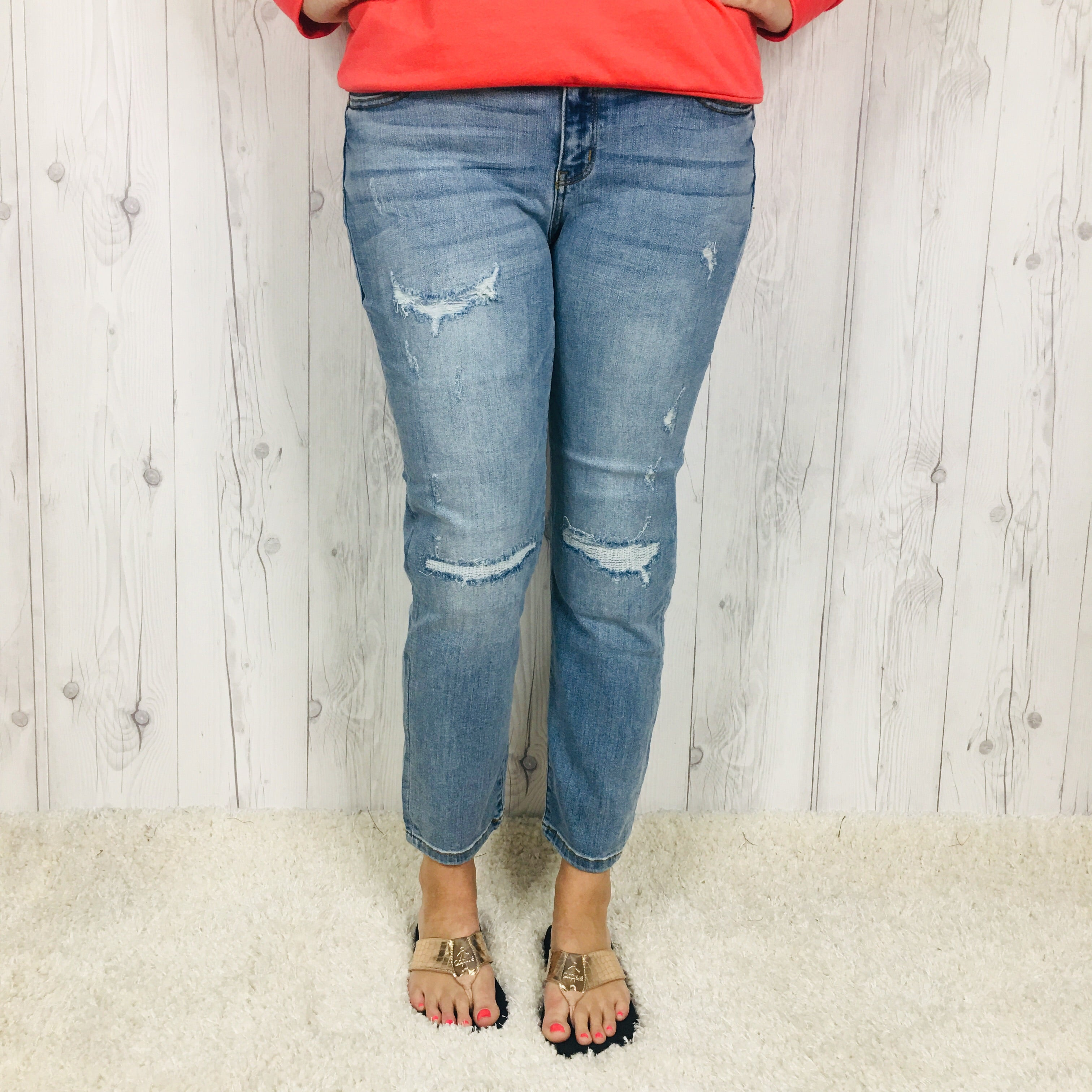 Judy Blue Mid Rise Boyfriend Faux Destroyed Cropped Jeans