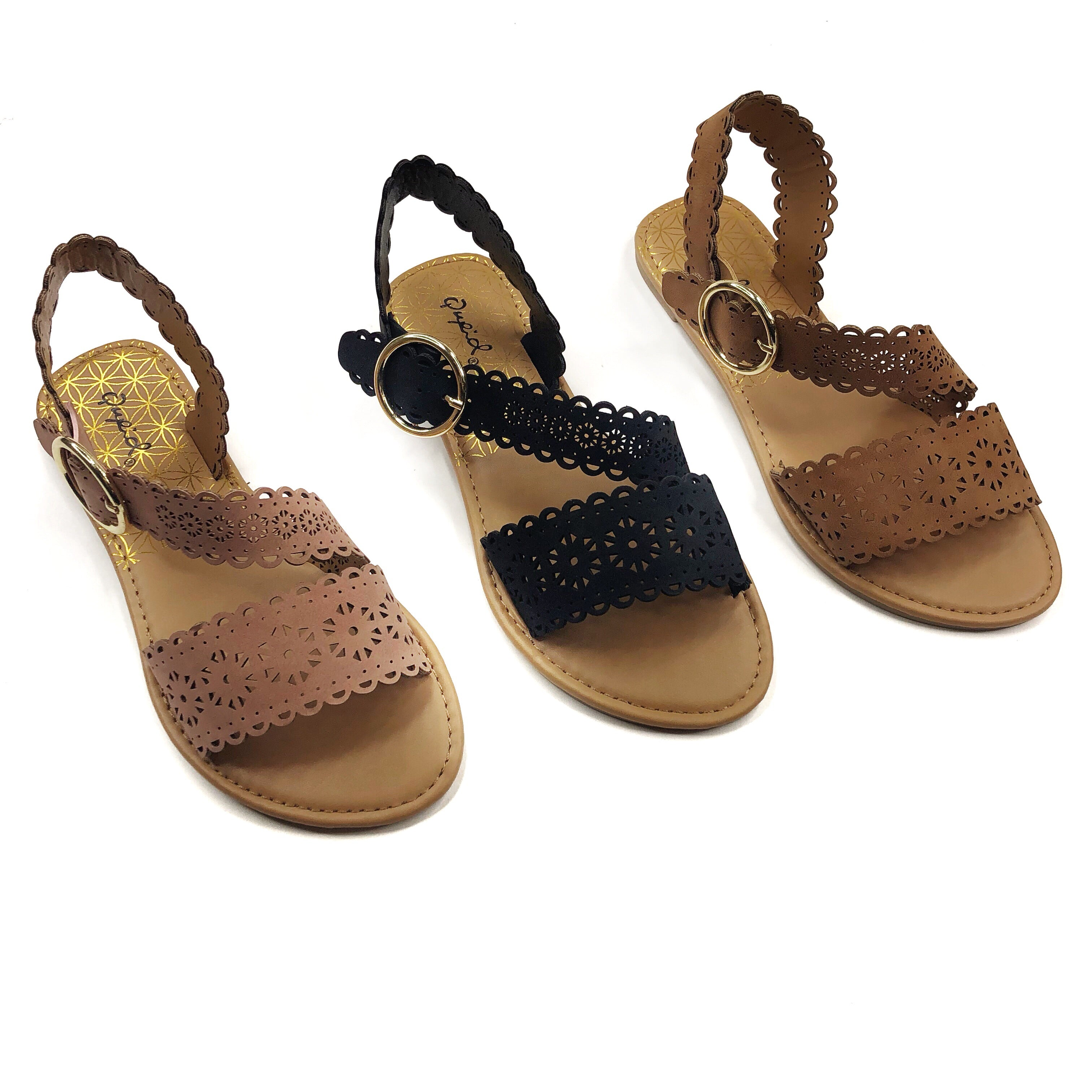 DEAL OF THE DAY! Scalloped Summer Sandals with Adjustable Buckle