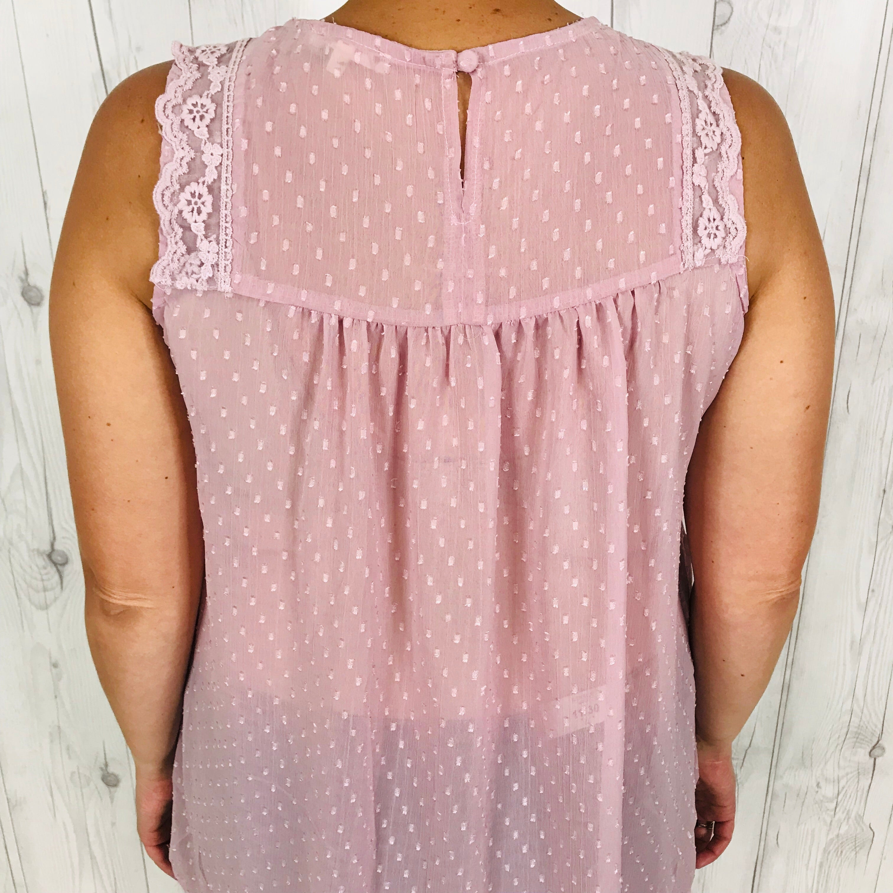 Easel Dusty Lavender Sleeveless Top with Embroidered Shoulder Detail