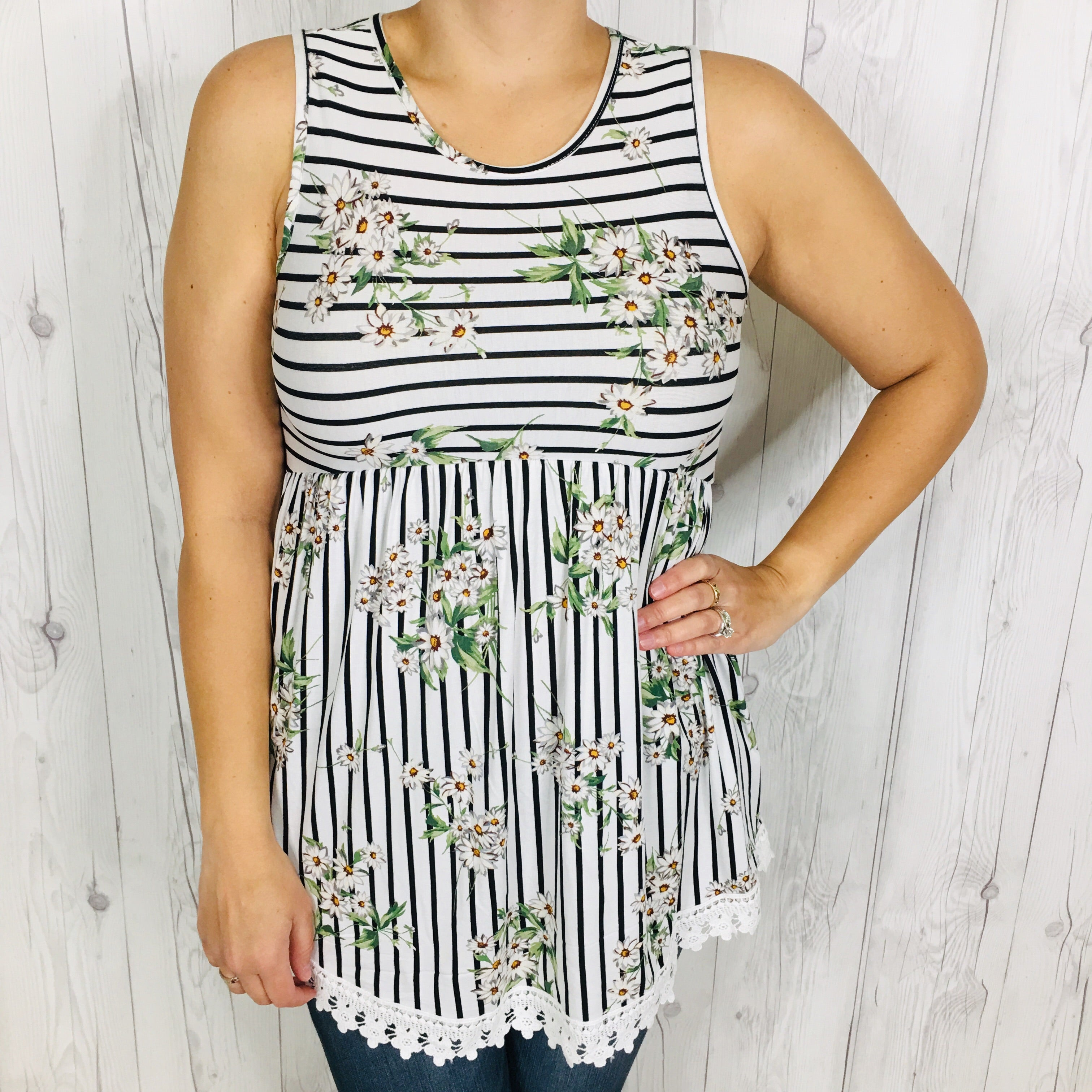 Tank Top White Vertical Stripe with Florals