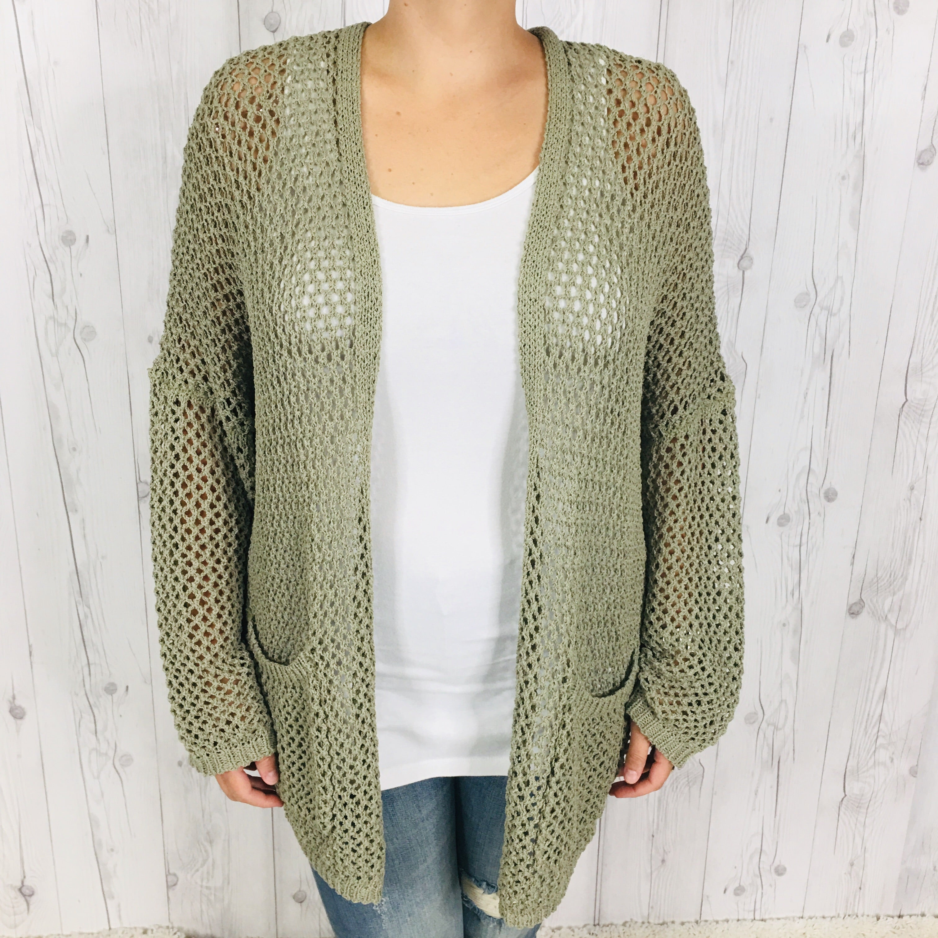 POL Lightweight Open Knit Cardigan with Pockets