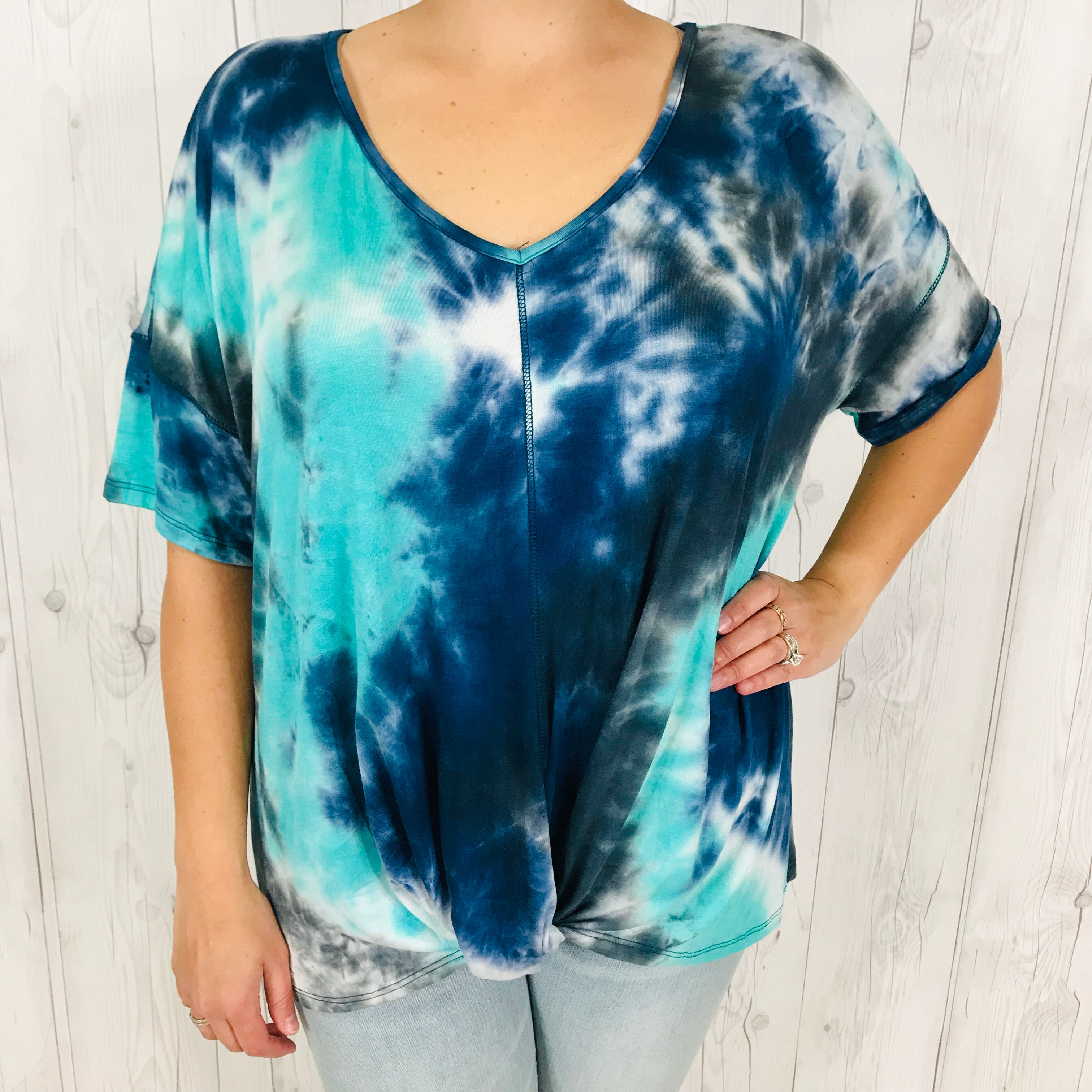 PLUS Blue and Teal Tie Dye V-Neck Short Sleeve with Twist Front