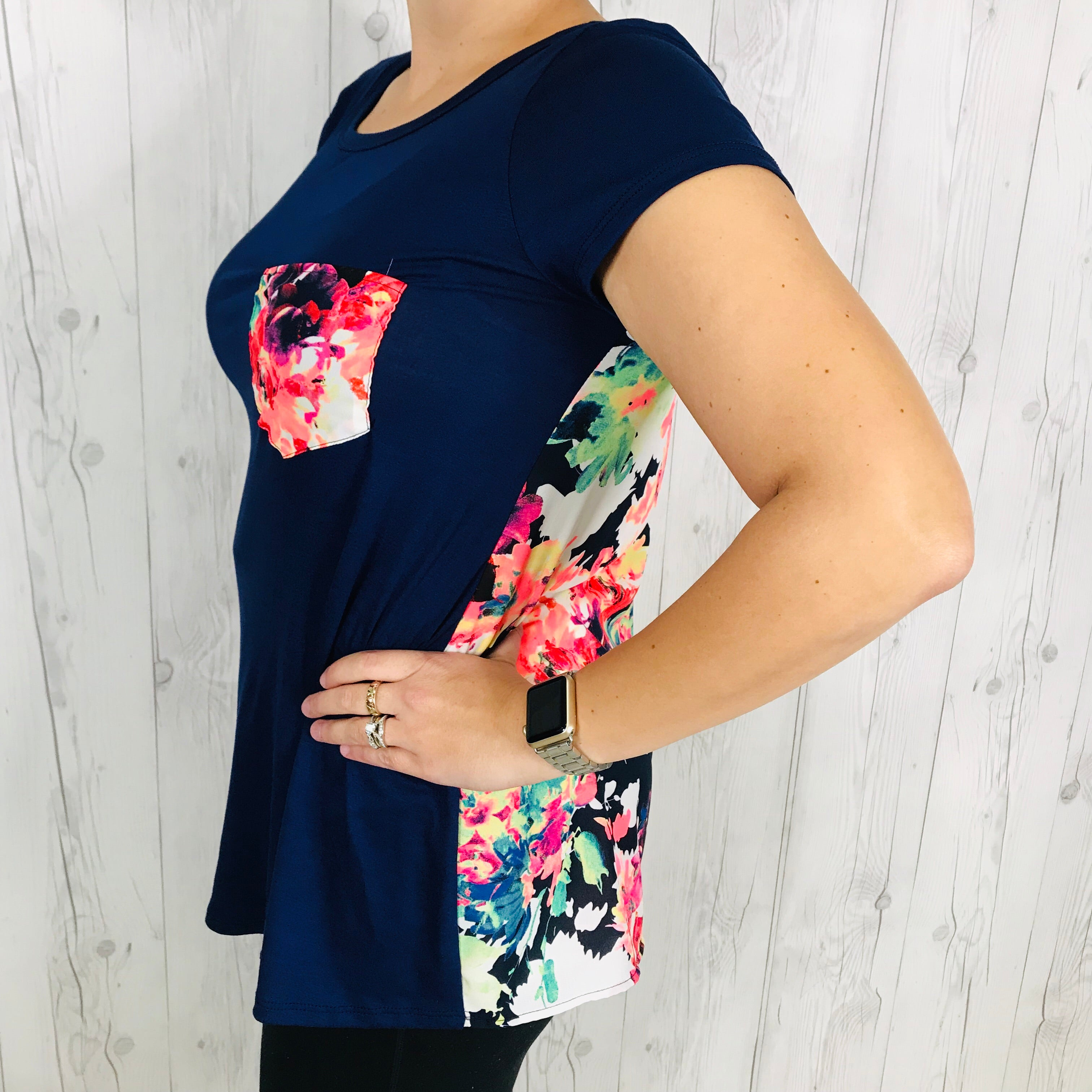 Navy Short Sleeve Tee with Floral Back and Pocket