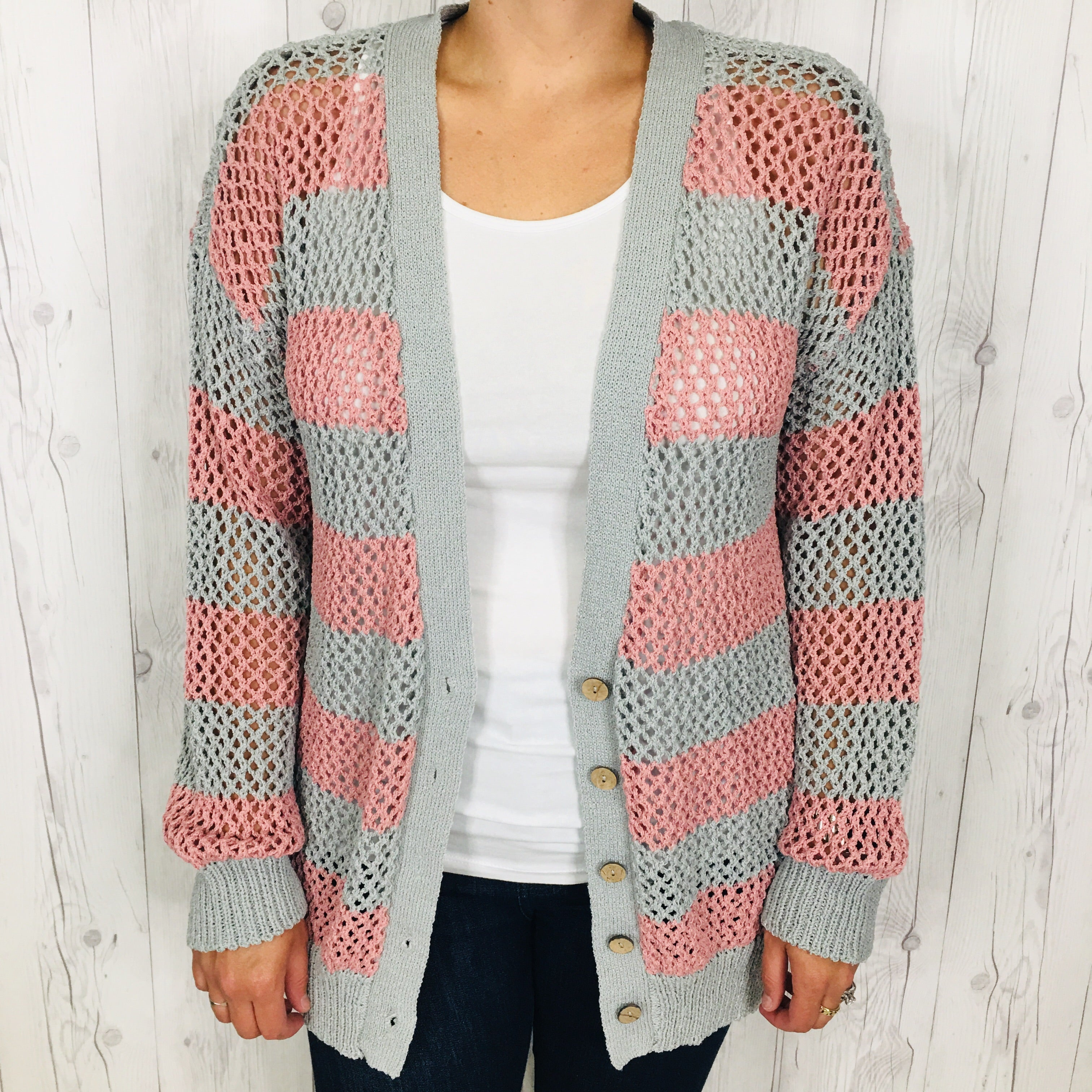 Grey and Wine Lightweight Open Weave Button Down Cardigan