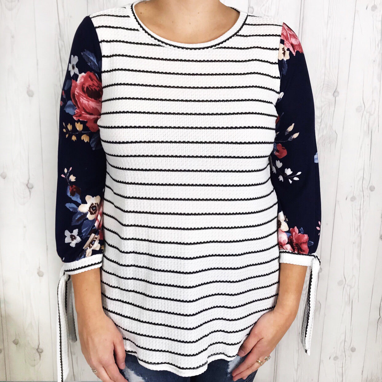 Navy Striped Floral Combo Tunic