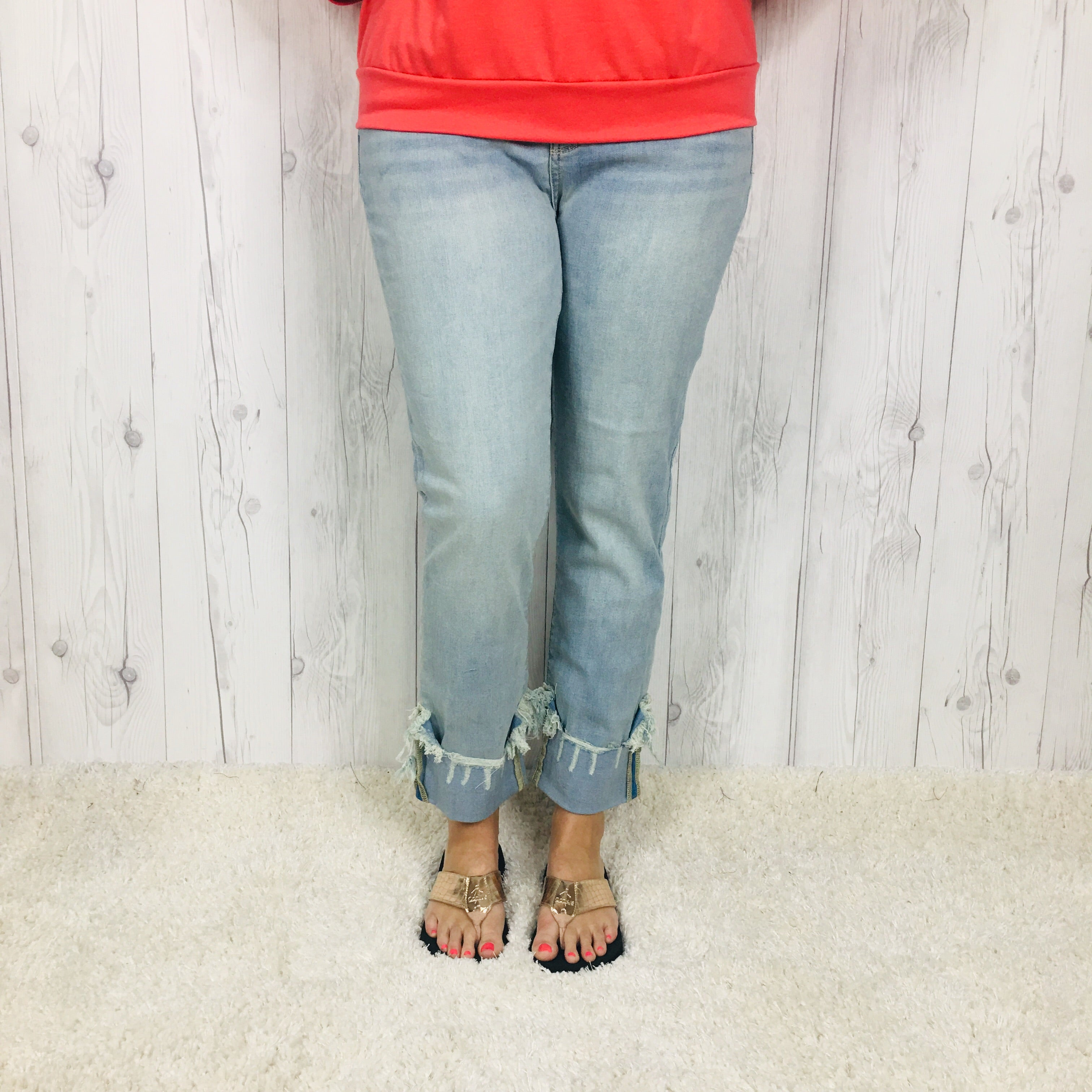 Judy Blue Light Wash Relaxed Fit Cuffed Jeans