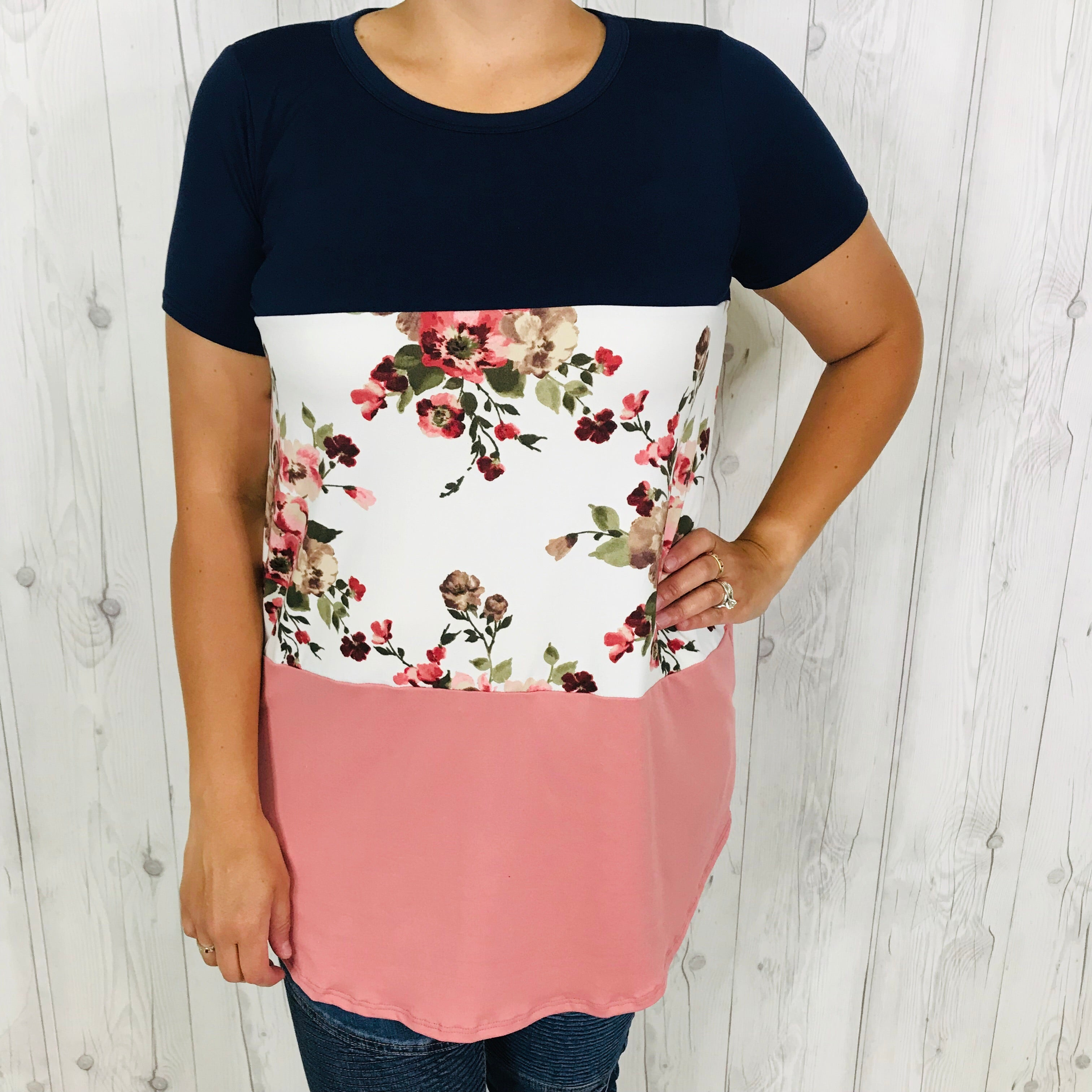 Navy Color Block Top with Floral and Mauve Bottom